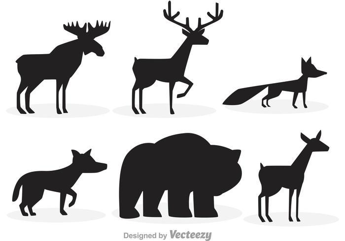 Skogs djur silhuetter vektor