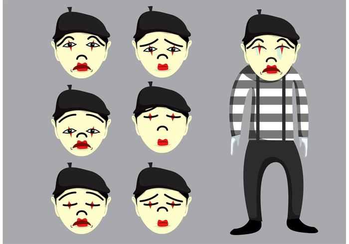 Traurige Mime-Vektoren vektor