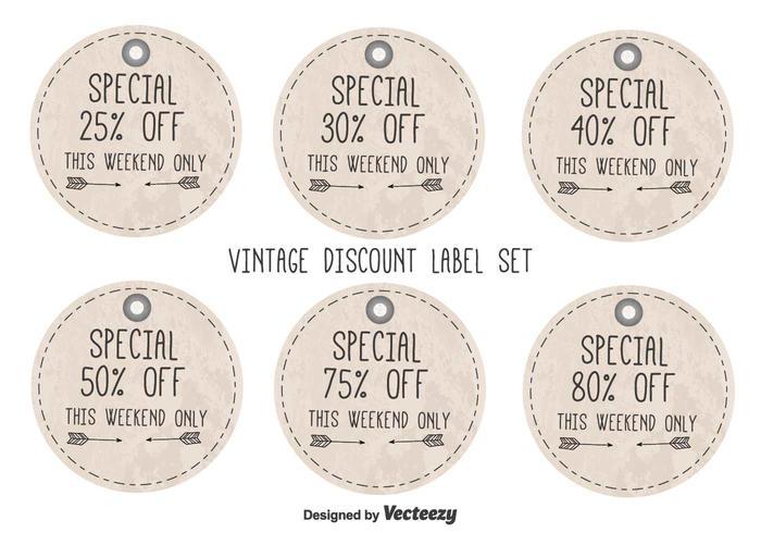 Vintage Style Discount Etiketten vektor