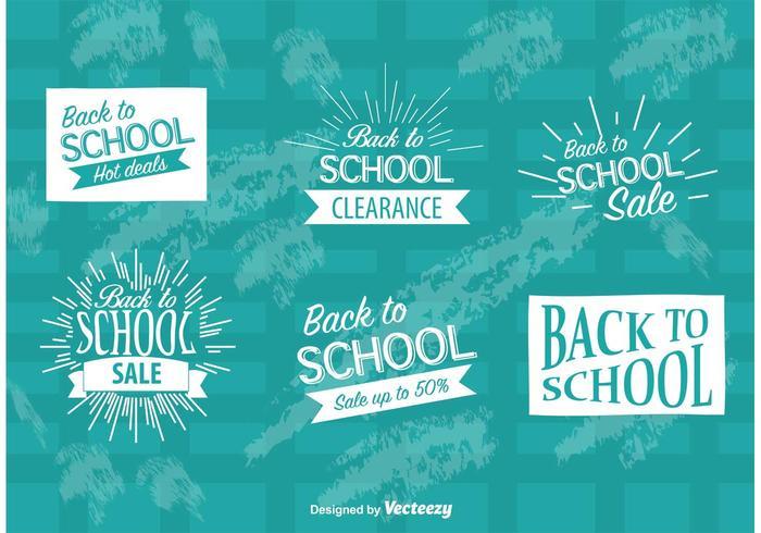 Tillbaka till skolan Försäljning märken vektor