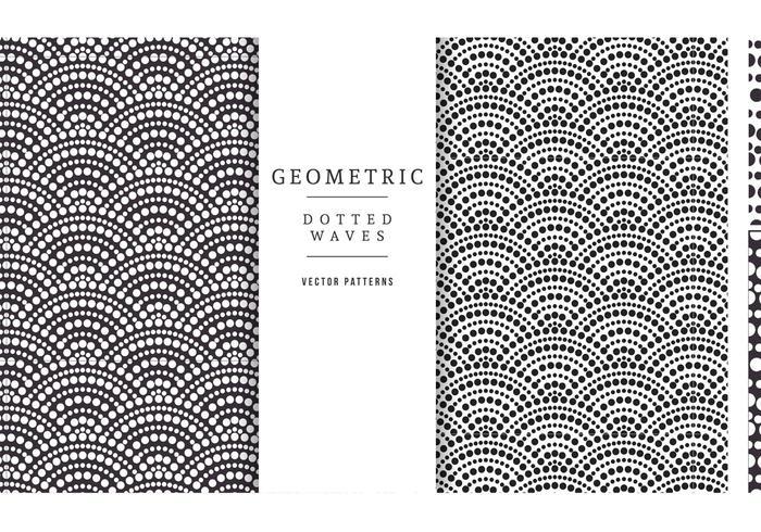Gratis geometriska prickade vågor vektormönster vektor