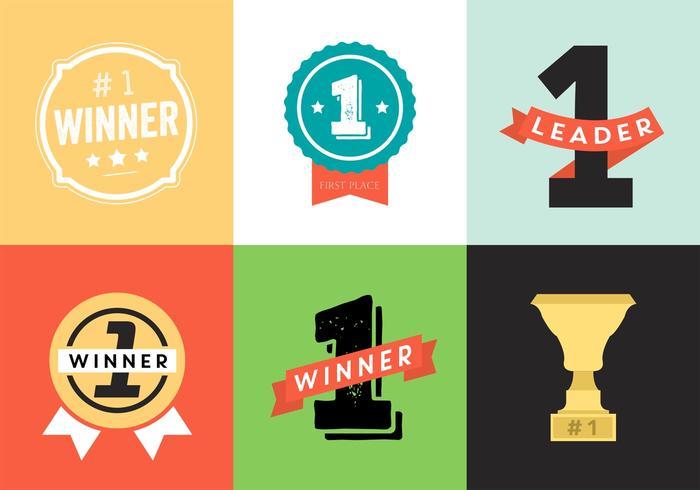 Trofé och Awards Vector Ikoner, märken Set