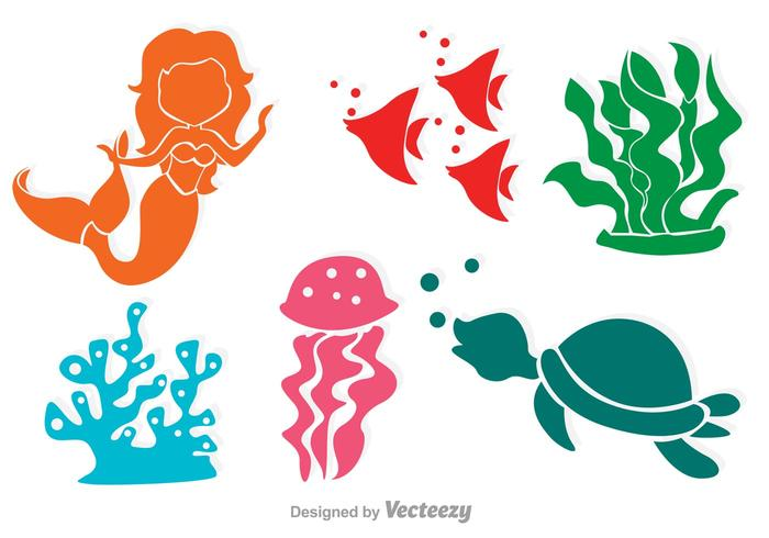 Bunte Meerjungfrau und Sealife Silhouetten vektor