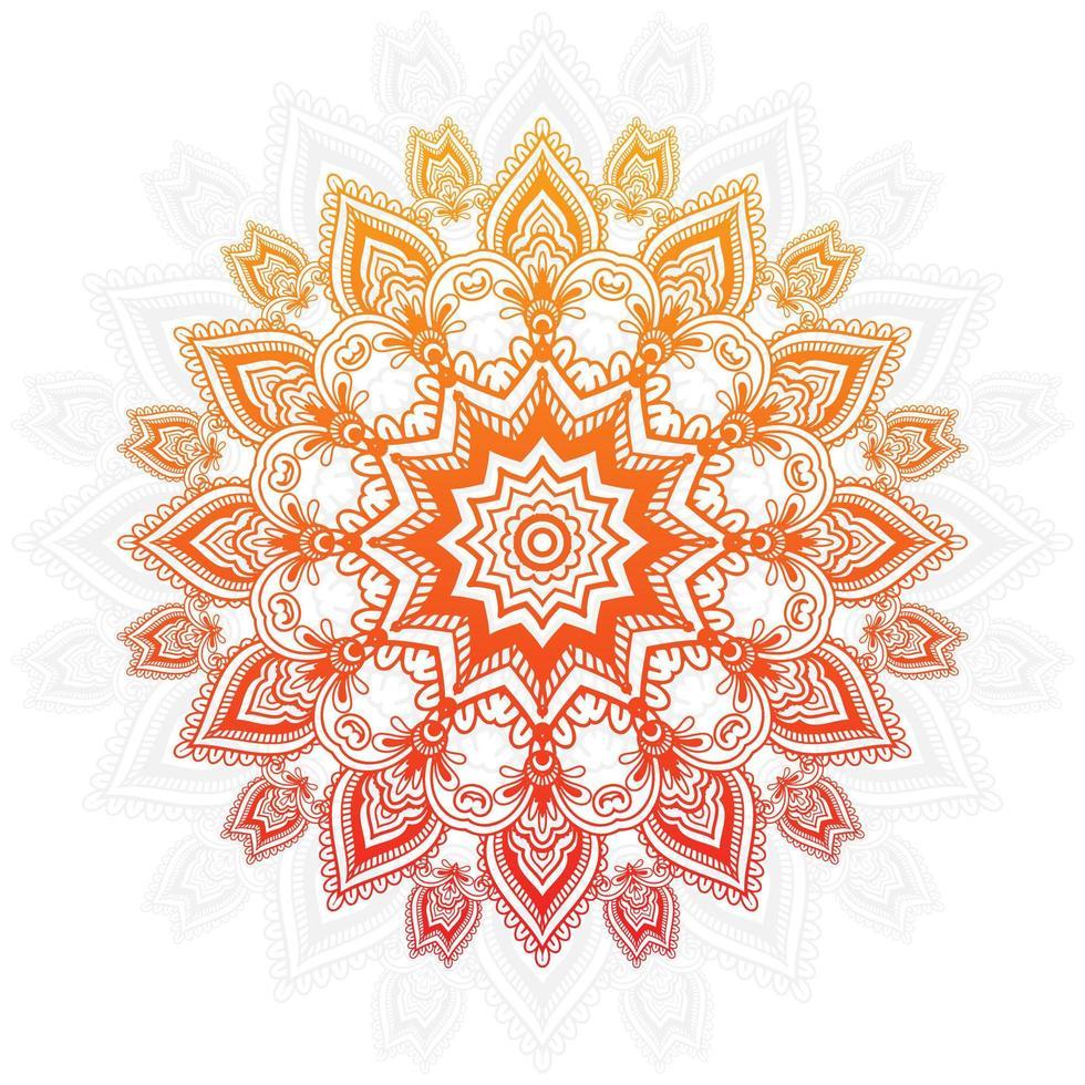 orange och gul lutning mandala design vektor