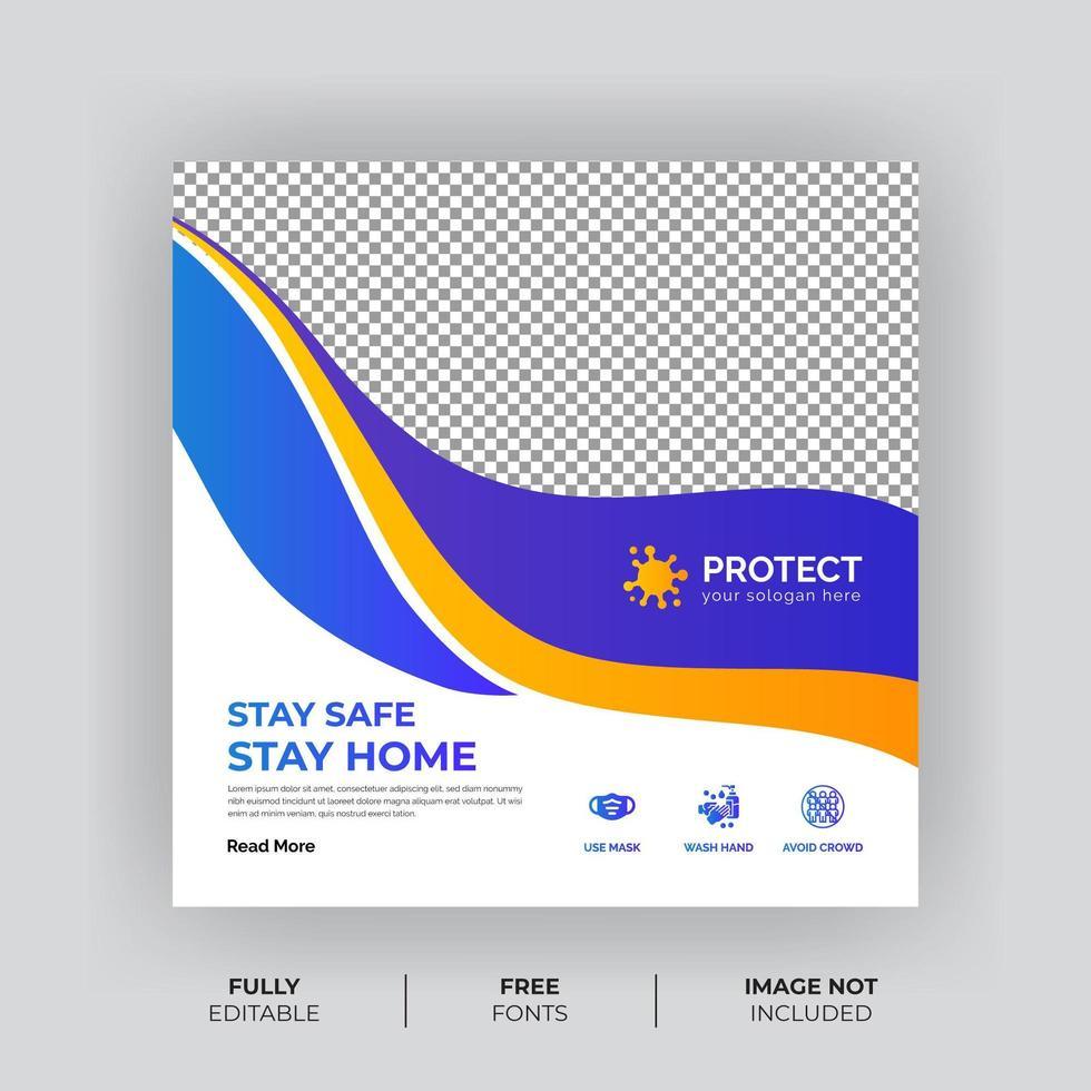 Virus Prävention Quadrat Social Media Banner vektor