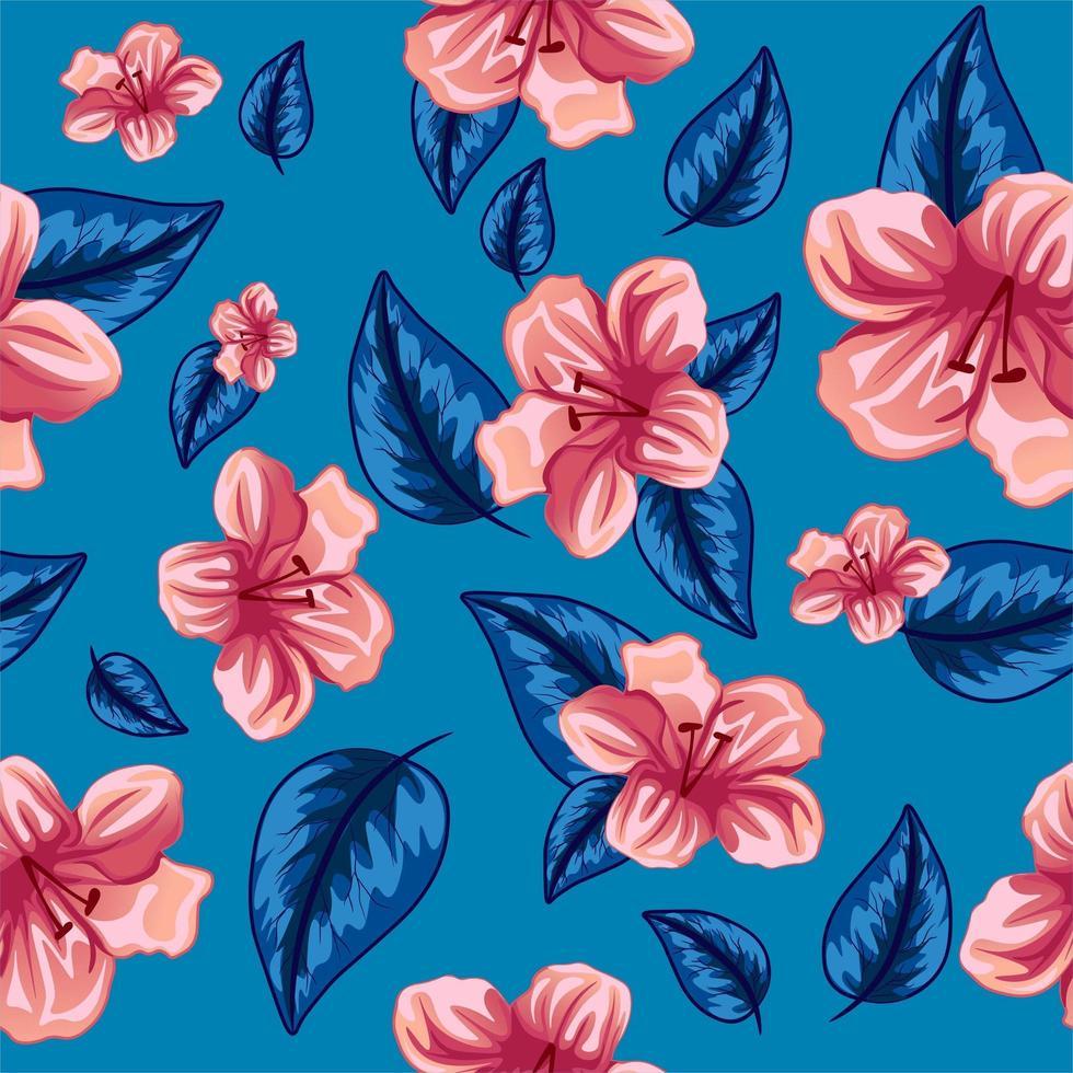 hibiskus och palmträdrosa och blå vektor för utskrift.