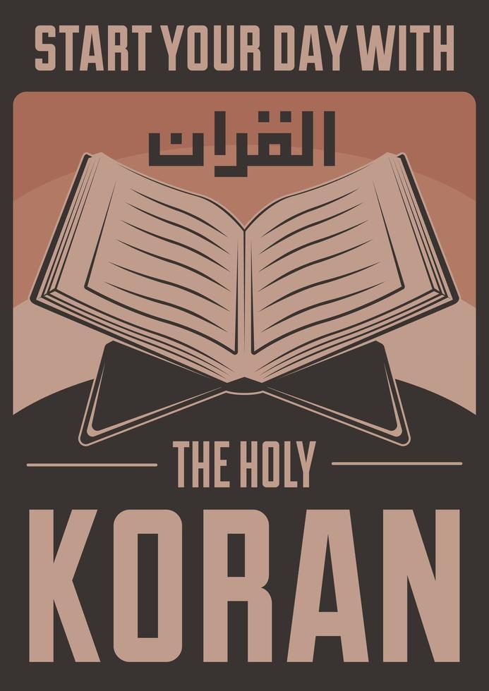 Retro Muslim Islam Koran Poster vektor