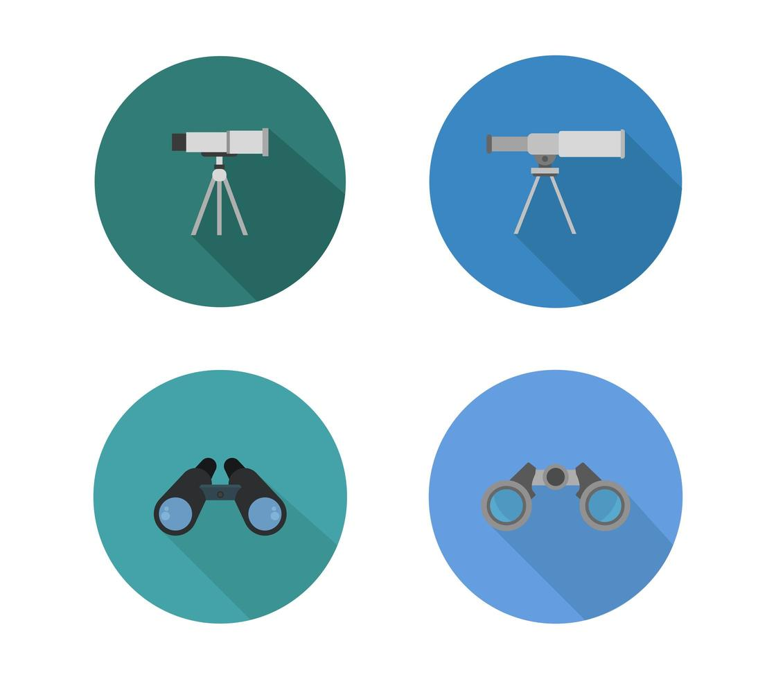 uppsättning runda teleskopikoner vektor
