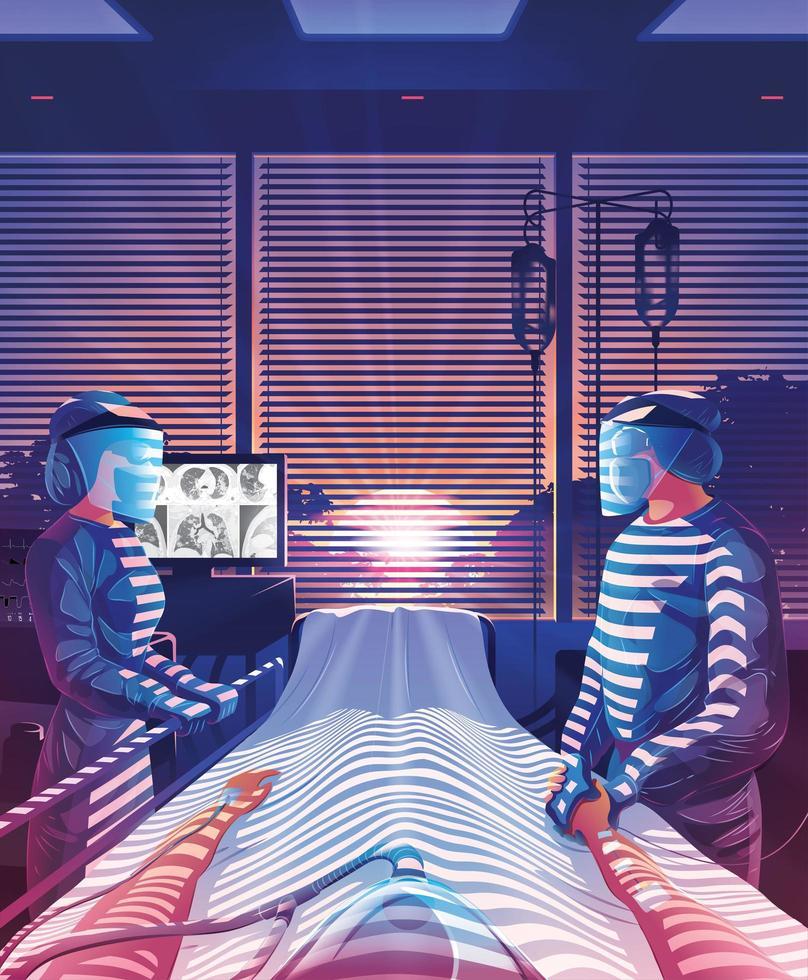 hoppfulla läkare som tar hand om patienten under pandemi vektor