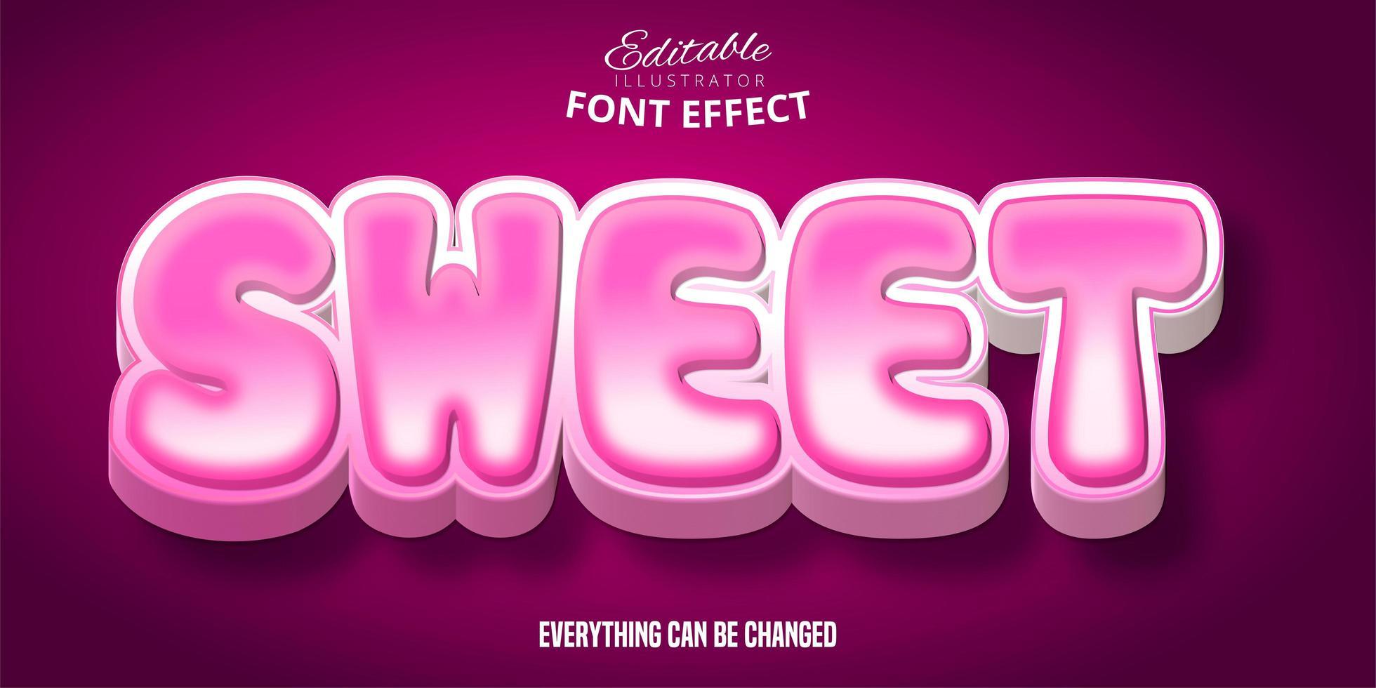 söt rosa bubbla text effekt vektor