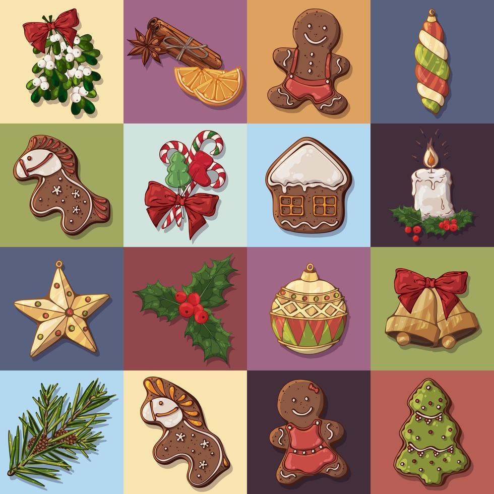 Satz Weihnachtssymbole und festliche Süßigkeiten vektor