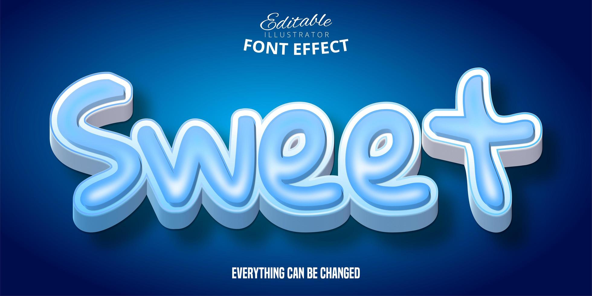 söt blå texteffekt vektor