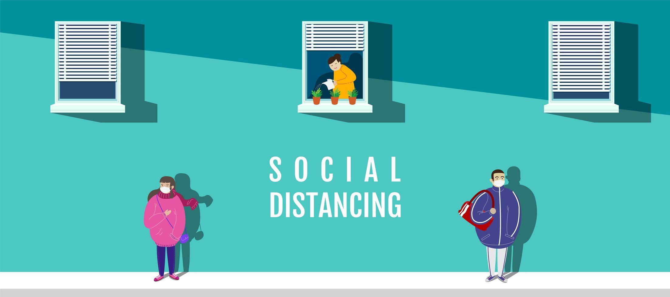 affisch med karaktärer i masker social distancing vektor