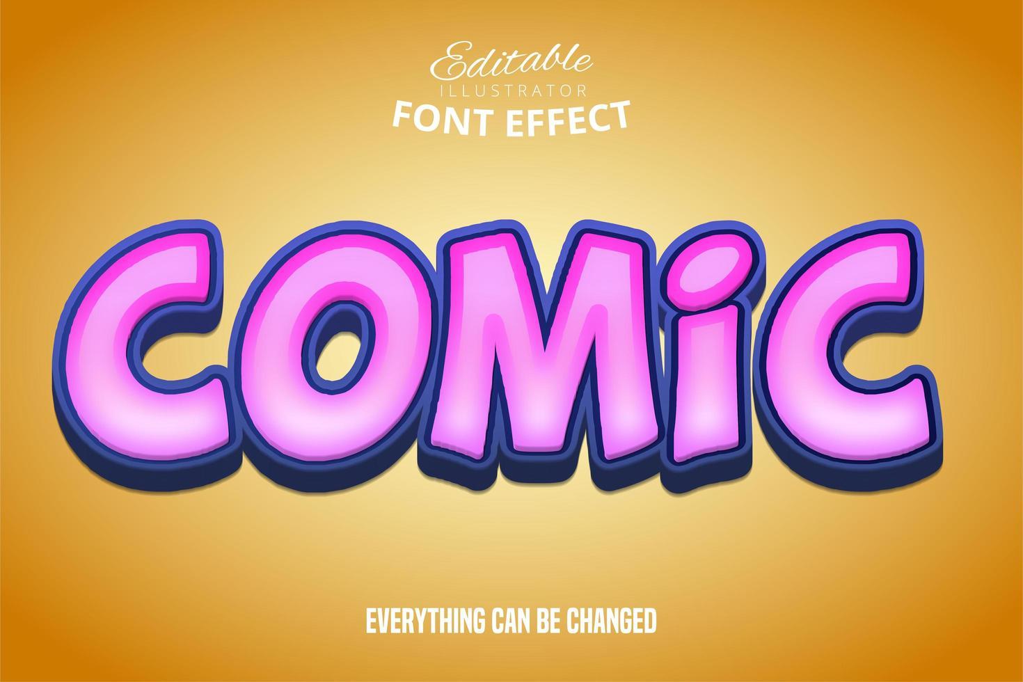 leuchtend rosa Comic-Texteffekt vektor