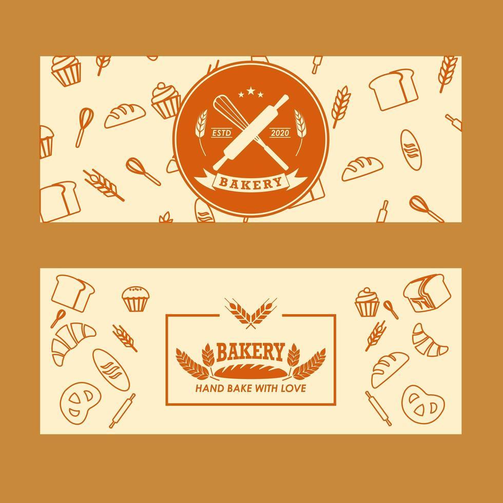 uppsättning bageri banners vektor