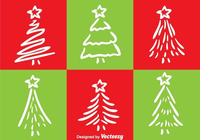 Weiße Linie Weihnachtsbaum-Vektoren vektor