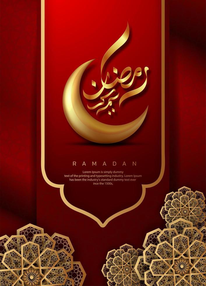 röd ramadan kareem arabisk design vektor