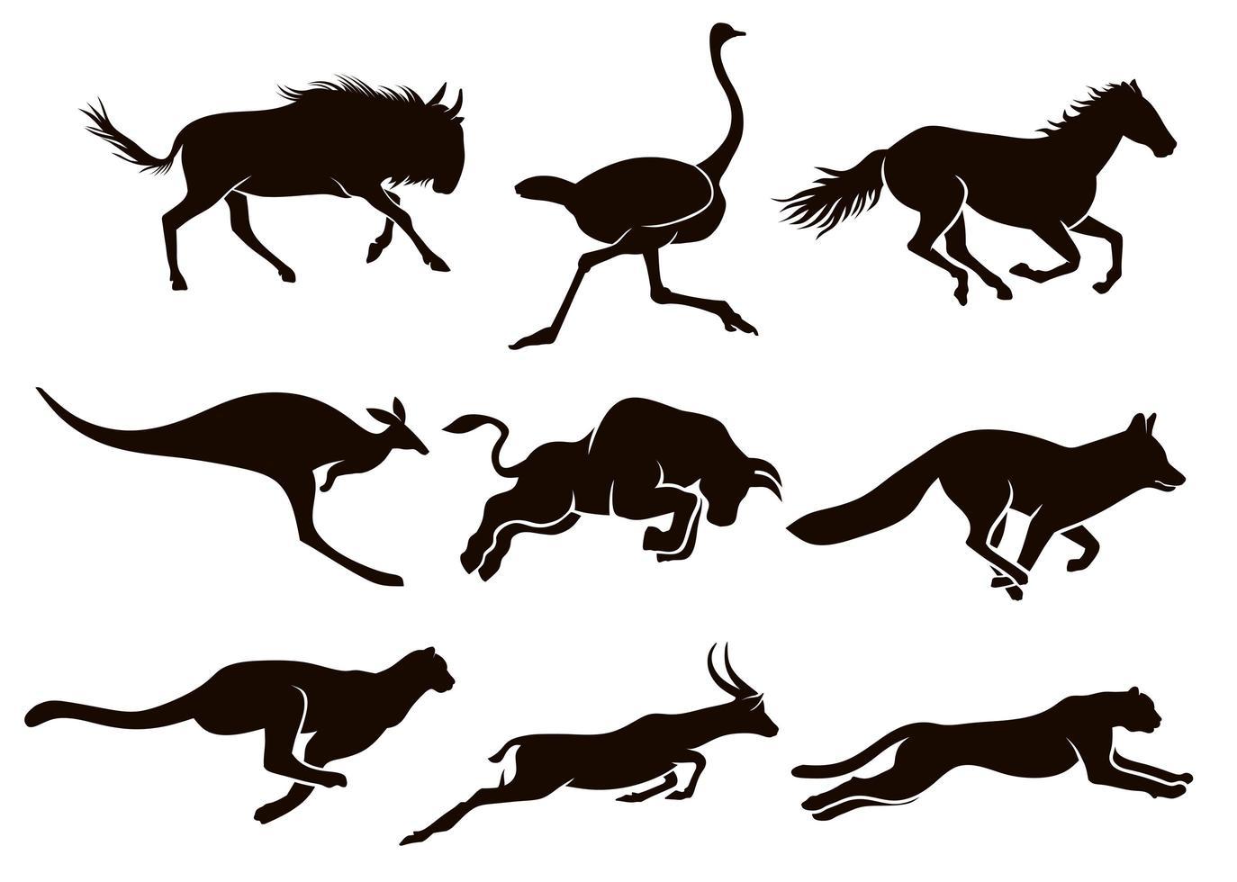 Sammlung von laufenden Tier Silhouetten vektor