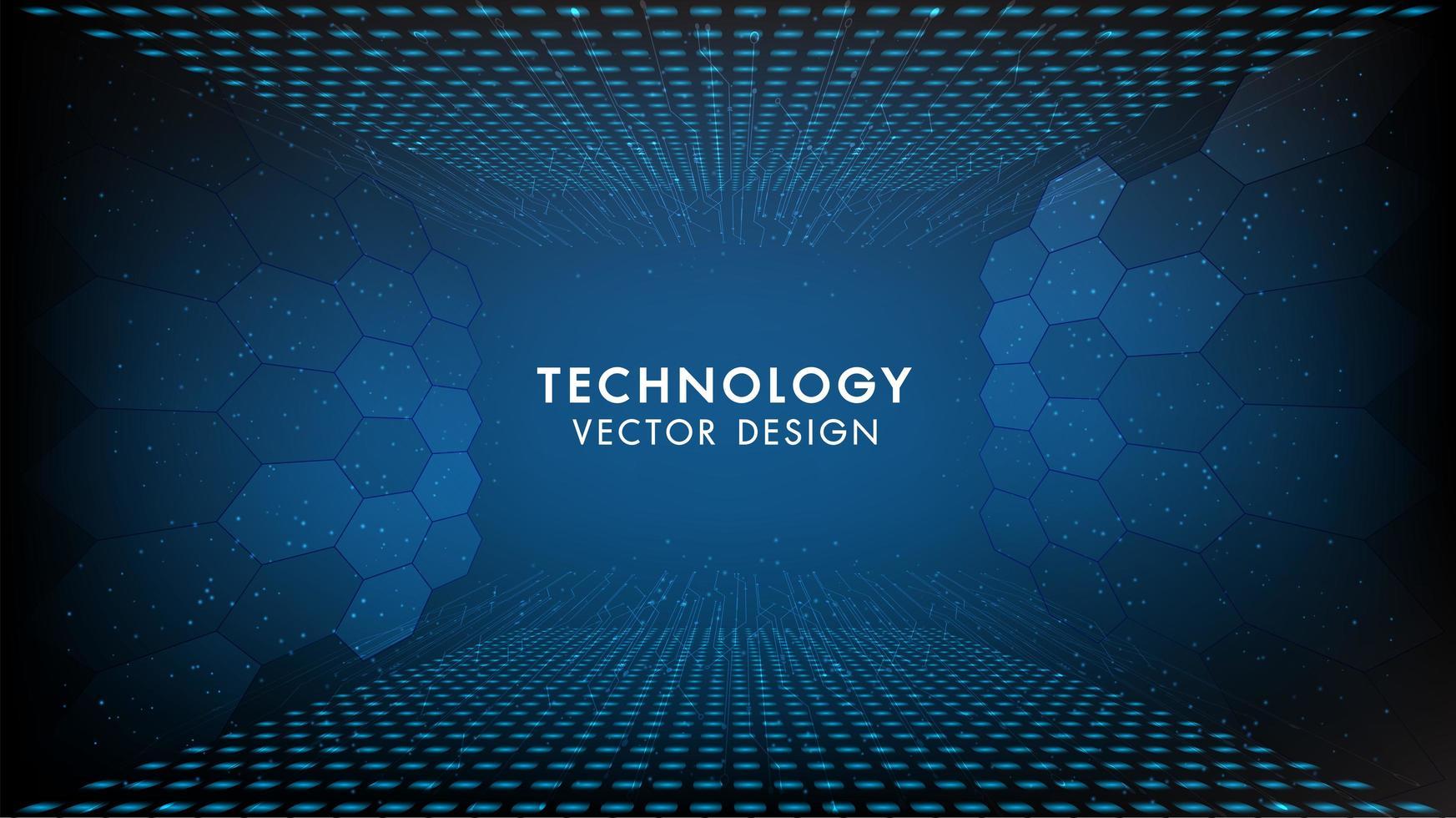 blå teknologibakgrund med exagonmönster vektor