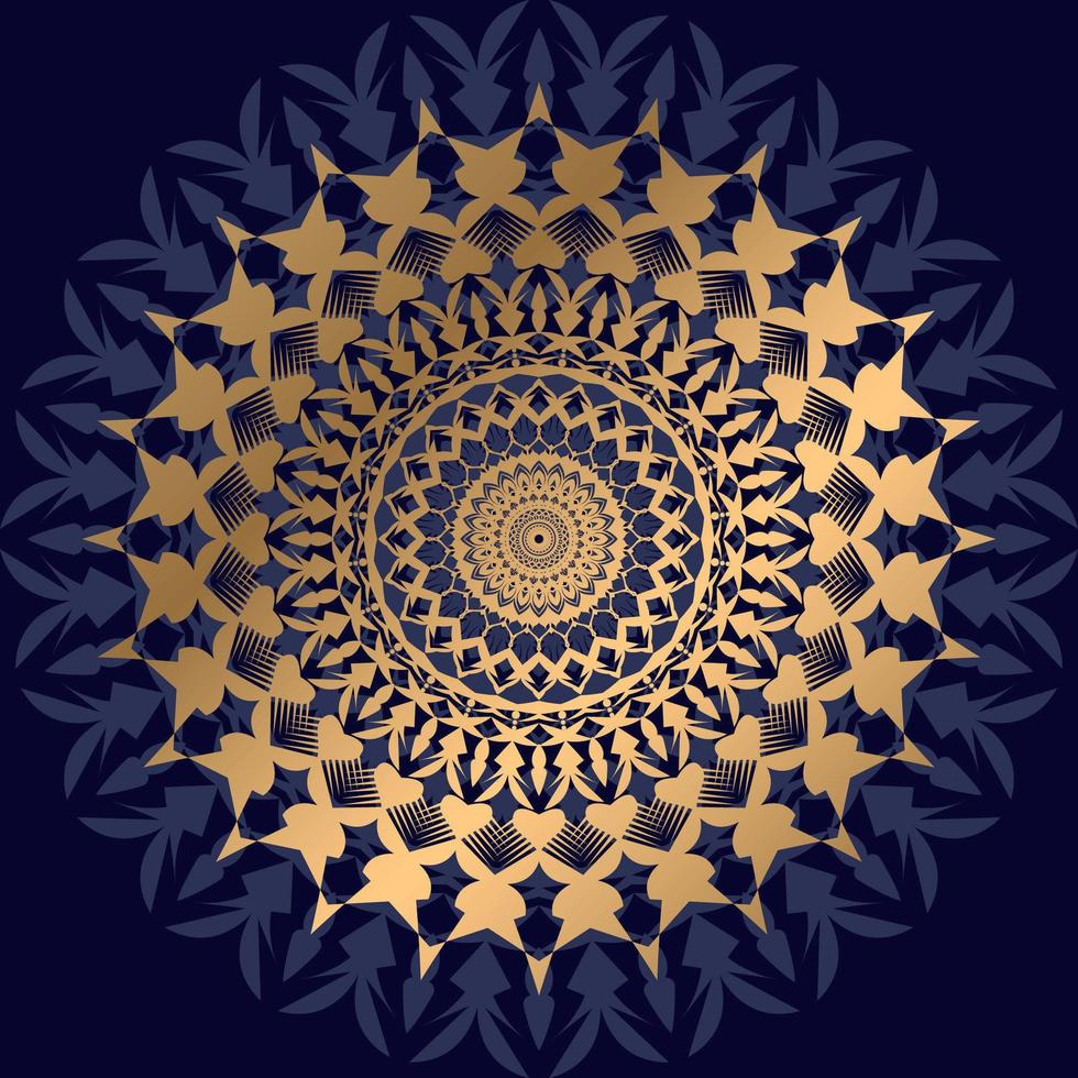 Gold und dunkelblaues Mandala auf Schwarz vektor