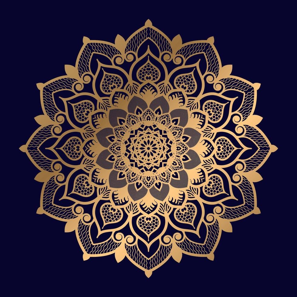 einzelnes florales goldenes Mandala-Design vektor