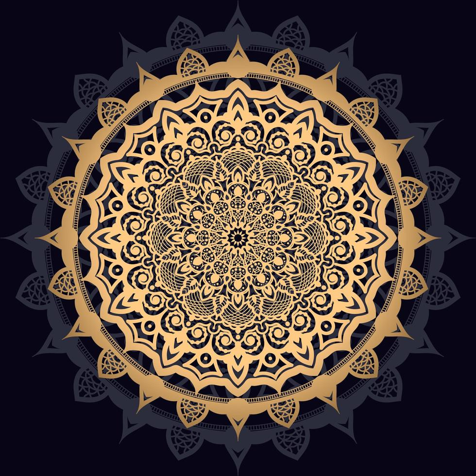 goldenes Sonnenmandala auf Schwarz vektor