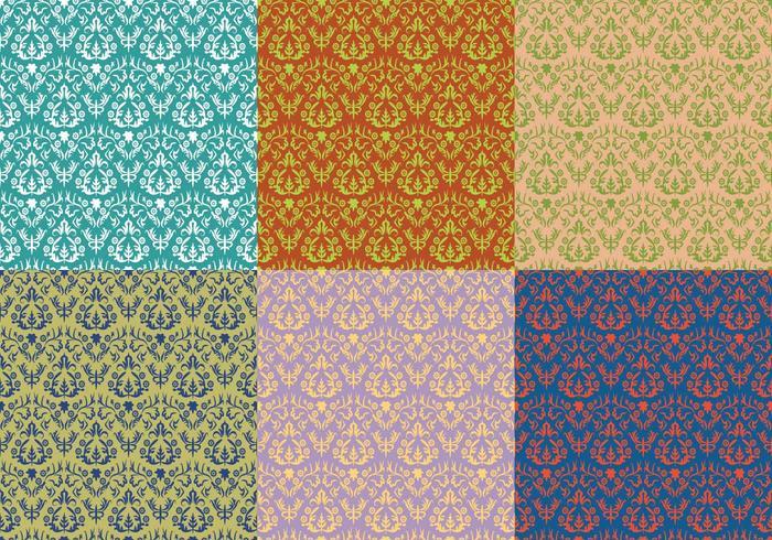 Damast-Weinlese-Blumenmuster vektor
