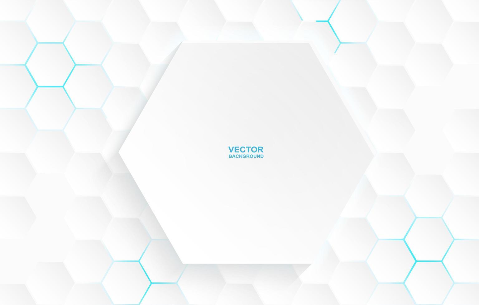 stor vit hexagon på små sexhörningsmönster vektor