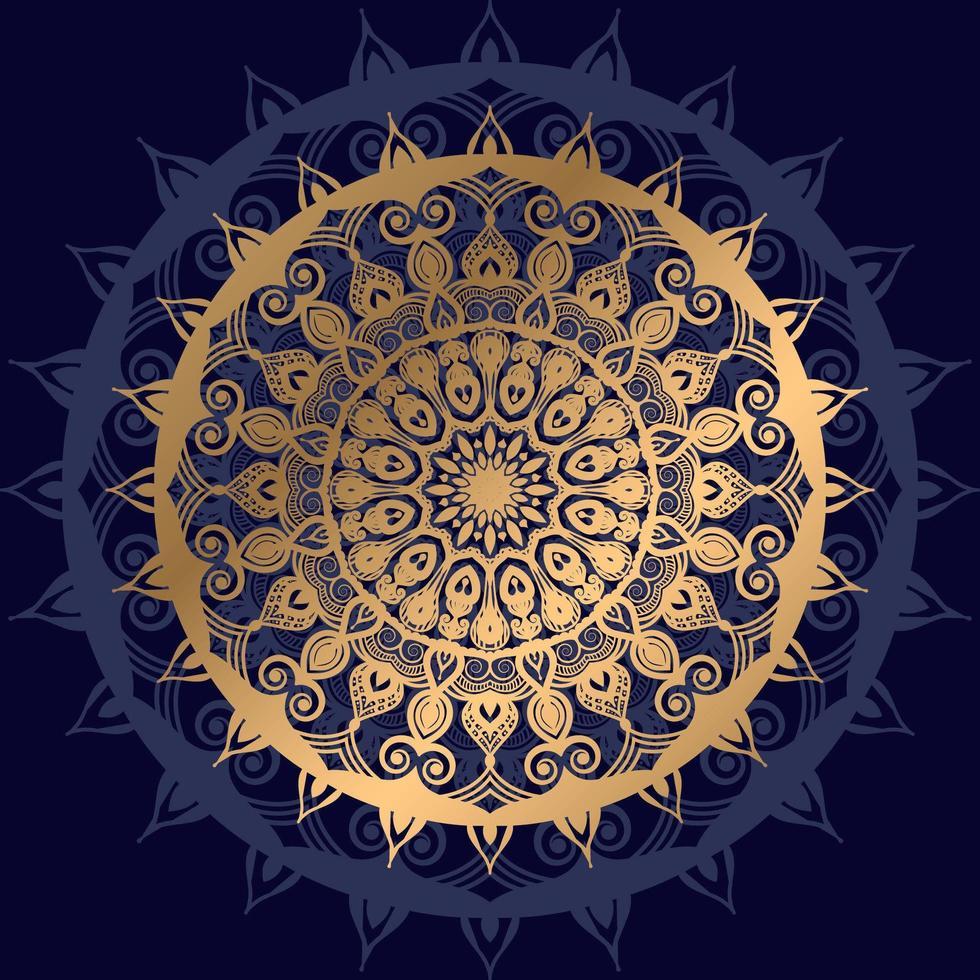 goldenes Mandala mit dunkelblauem Schatten vektor