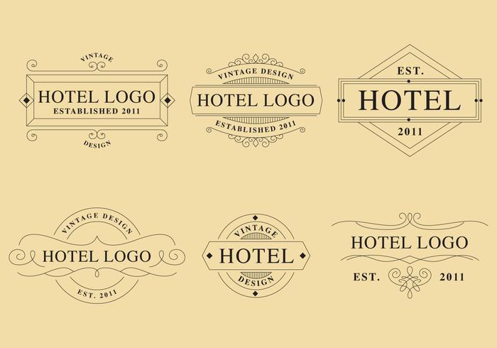 Linjära hotelllogotyper vektor