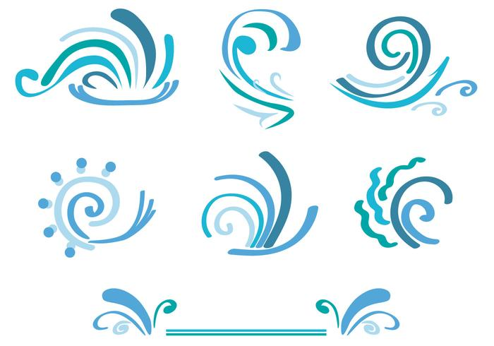Curly Wave Icons Set vektor