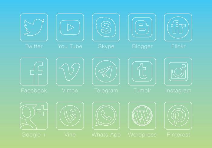 Tunna linjära sociala medievektorer vektor