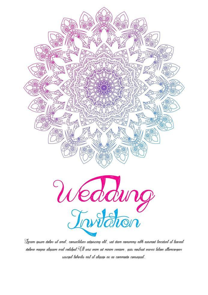 Farbverlauf Mandala Hochzeitskarte Vorlage vektor