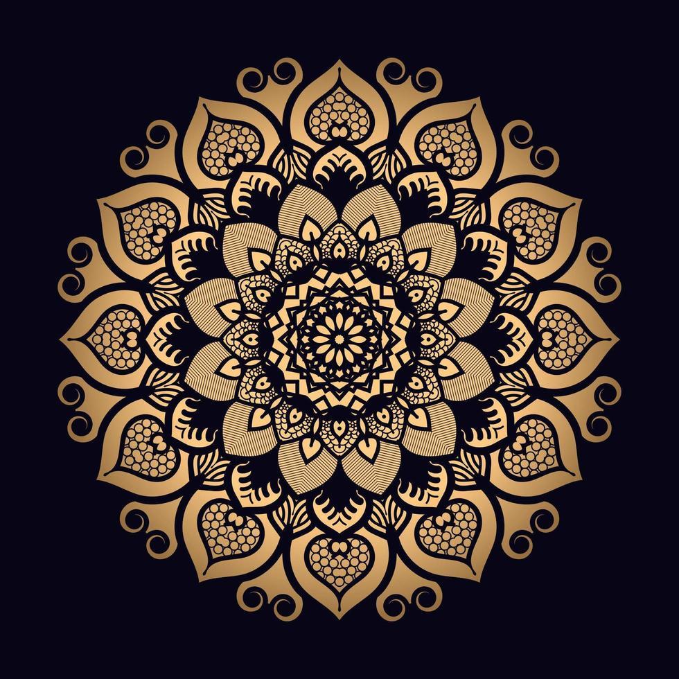Goldblumen gemustertes Mandala vektor