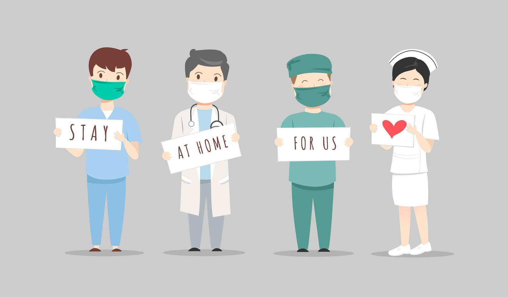 läkare och sjuksköterskor med hemma för oss tecken vektor