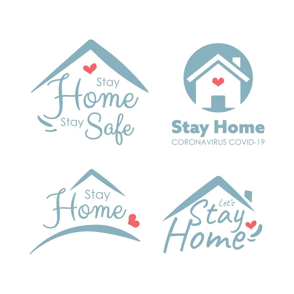 stay home logo set för coronvirus vektor