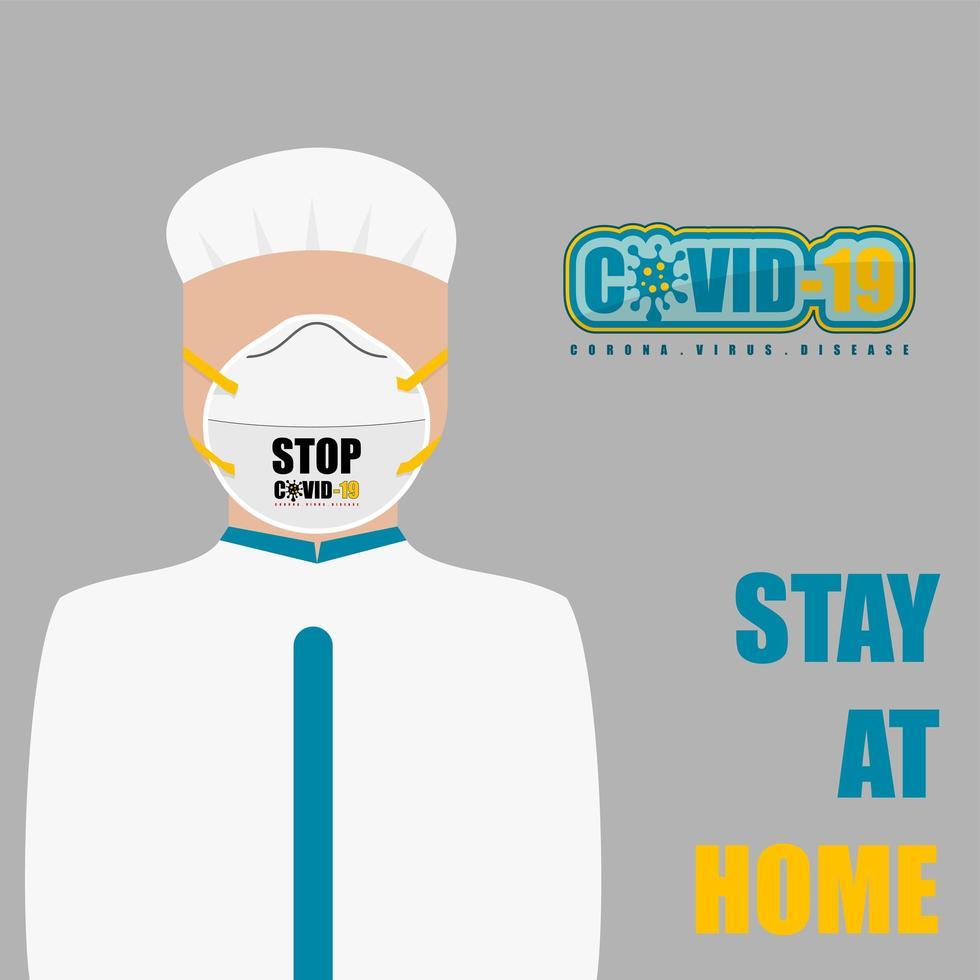 Krankenschwester mit einer Maske und bleiben zu Hause Text vektor