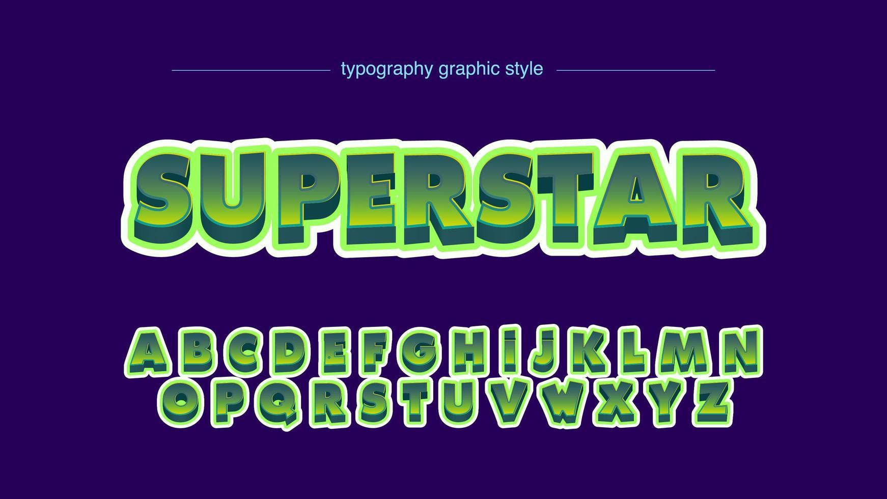 super fet grön 3d tecknad typografi vektor