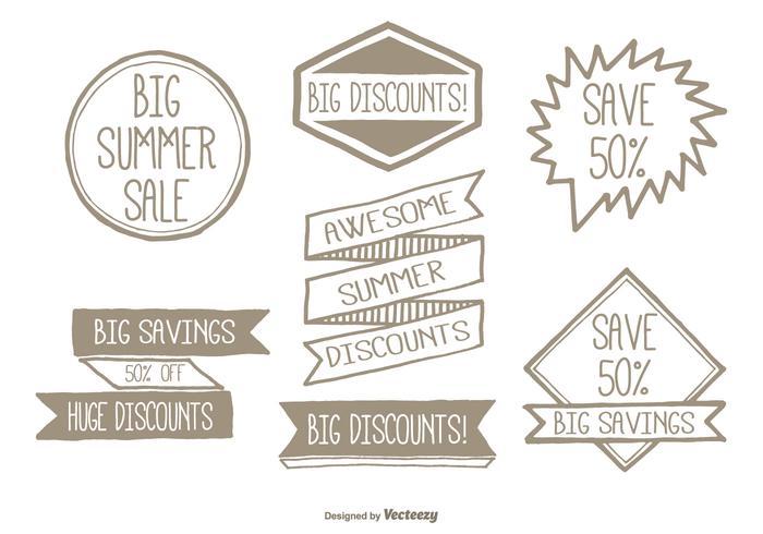Handgezeichnetes Werbe-Label-Set vektor