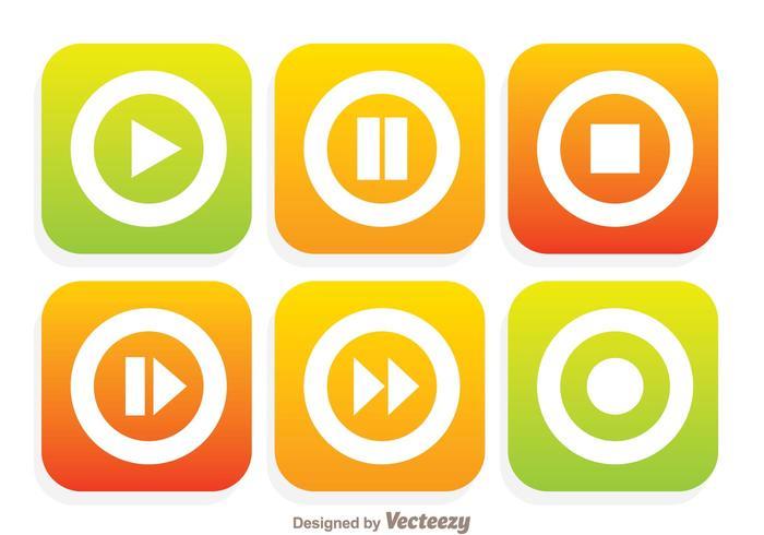 Flache Media Player-Tasten vektor