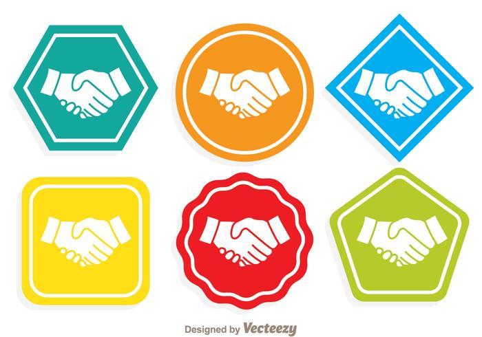 Bunte Handshake Icons vektor