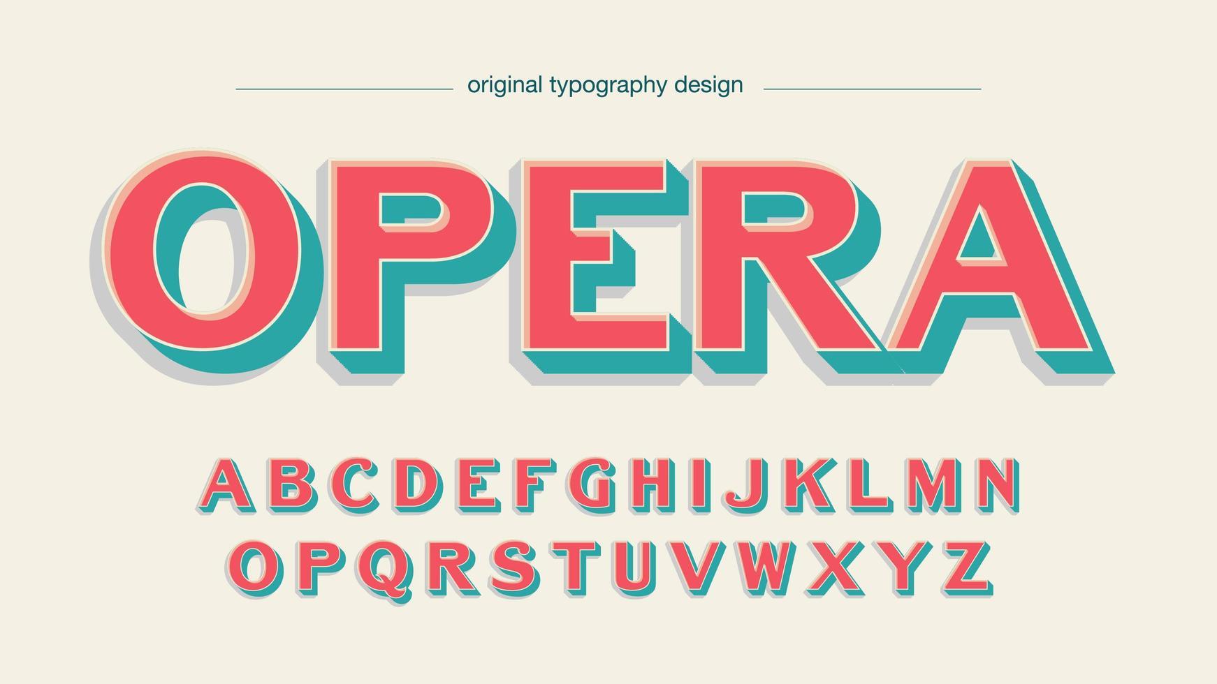 vintage pastell röd och grön dekoration alfabetet vektor