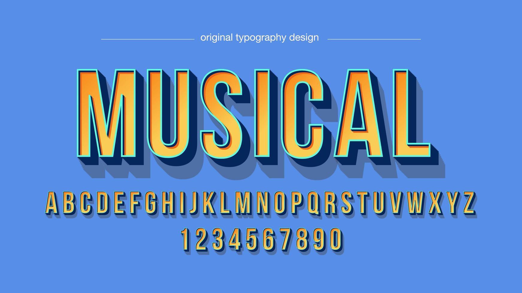 fet orange 3d stora bokstäver konstnärliga alfabetet vektor