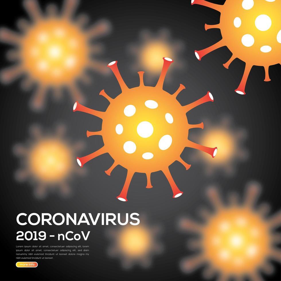 orange och svart koronavirusinfektionsaffisch vektor