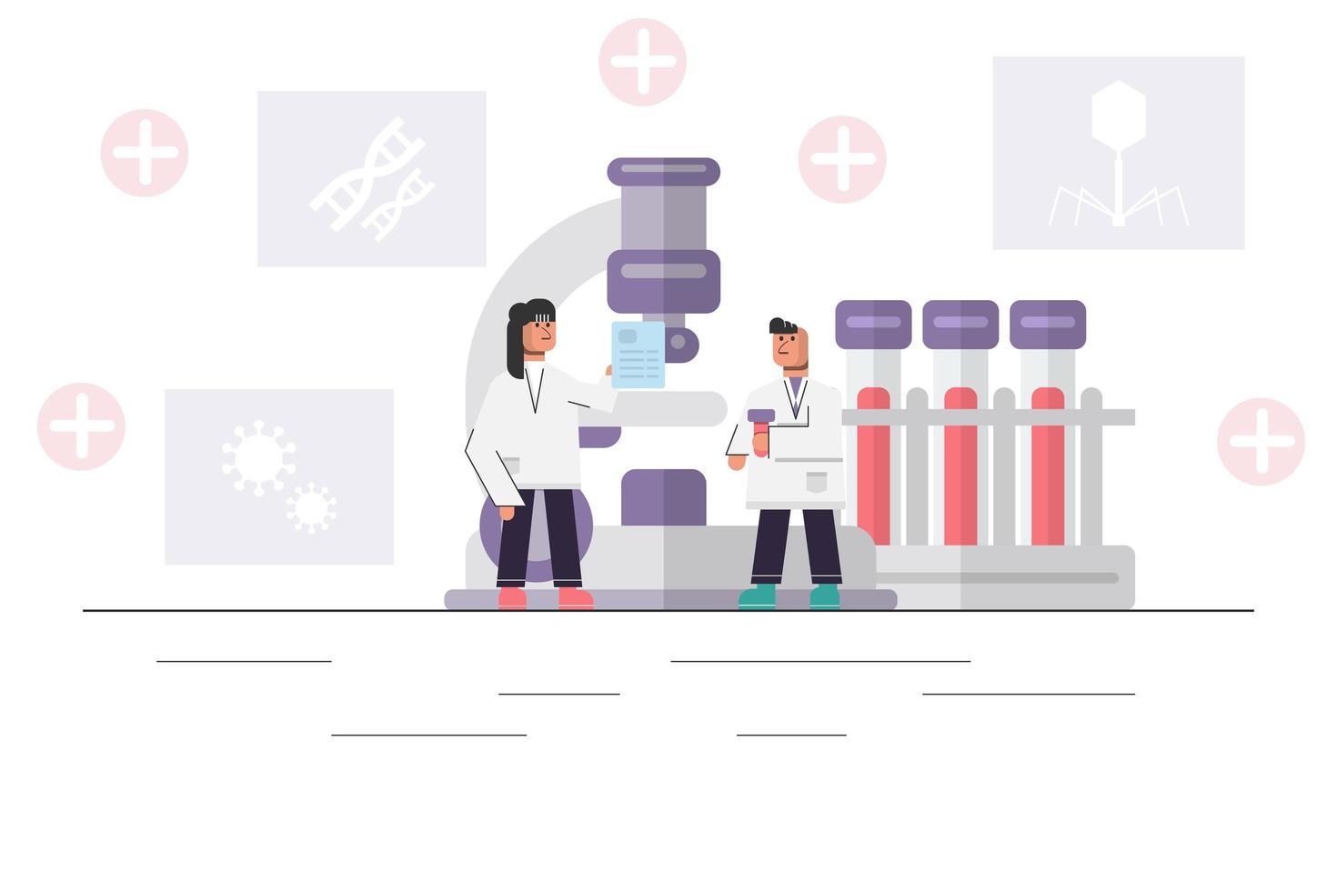 medicinsk forskare som arbetar med stort mikroskop vektor