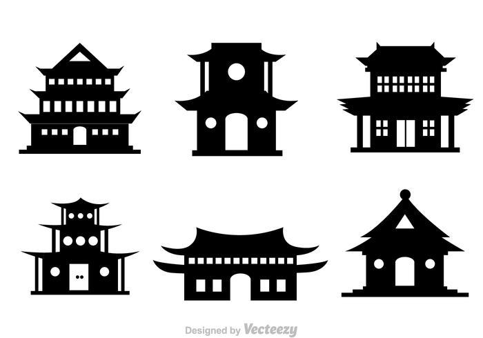 Chinesische Tempel Schwarz Vektor Icons