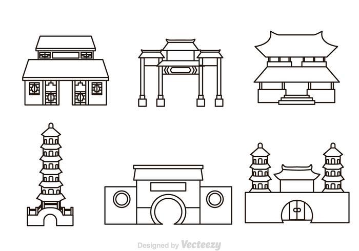 Chinesische Tempel Umriss Icons vektor
