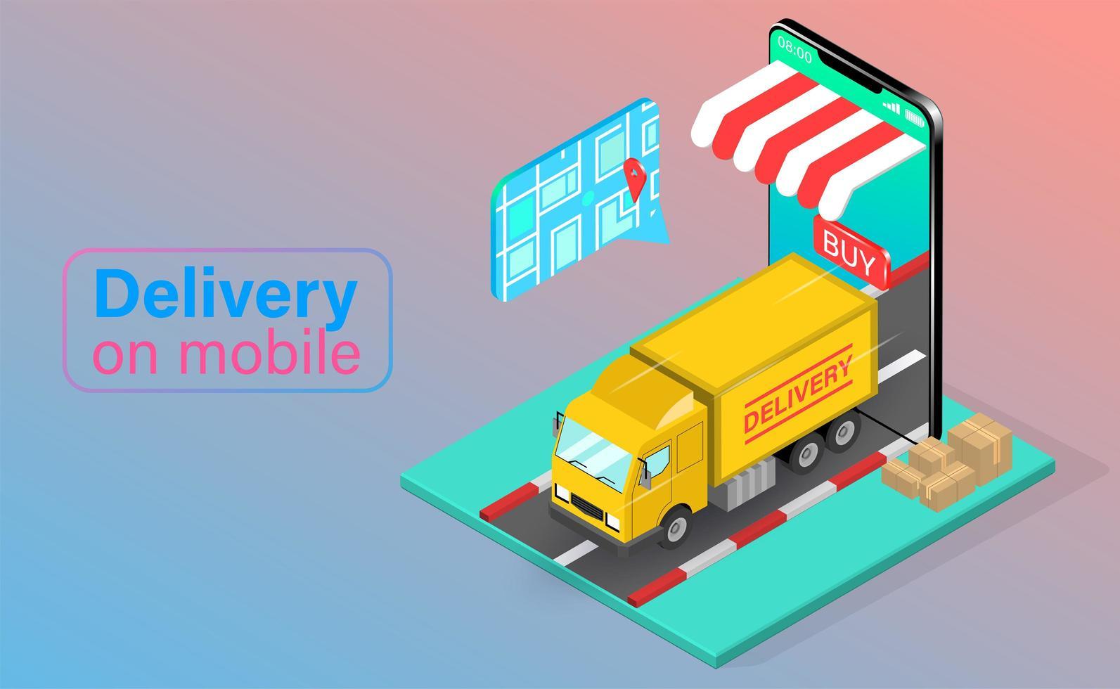 leverans av mobiltelefon lastbil vektor