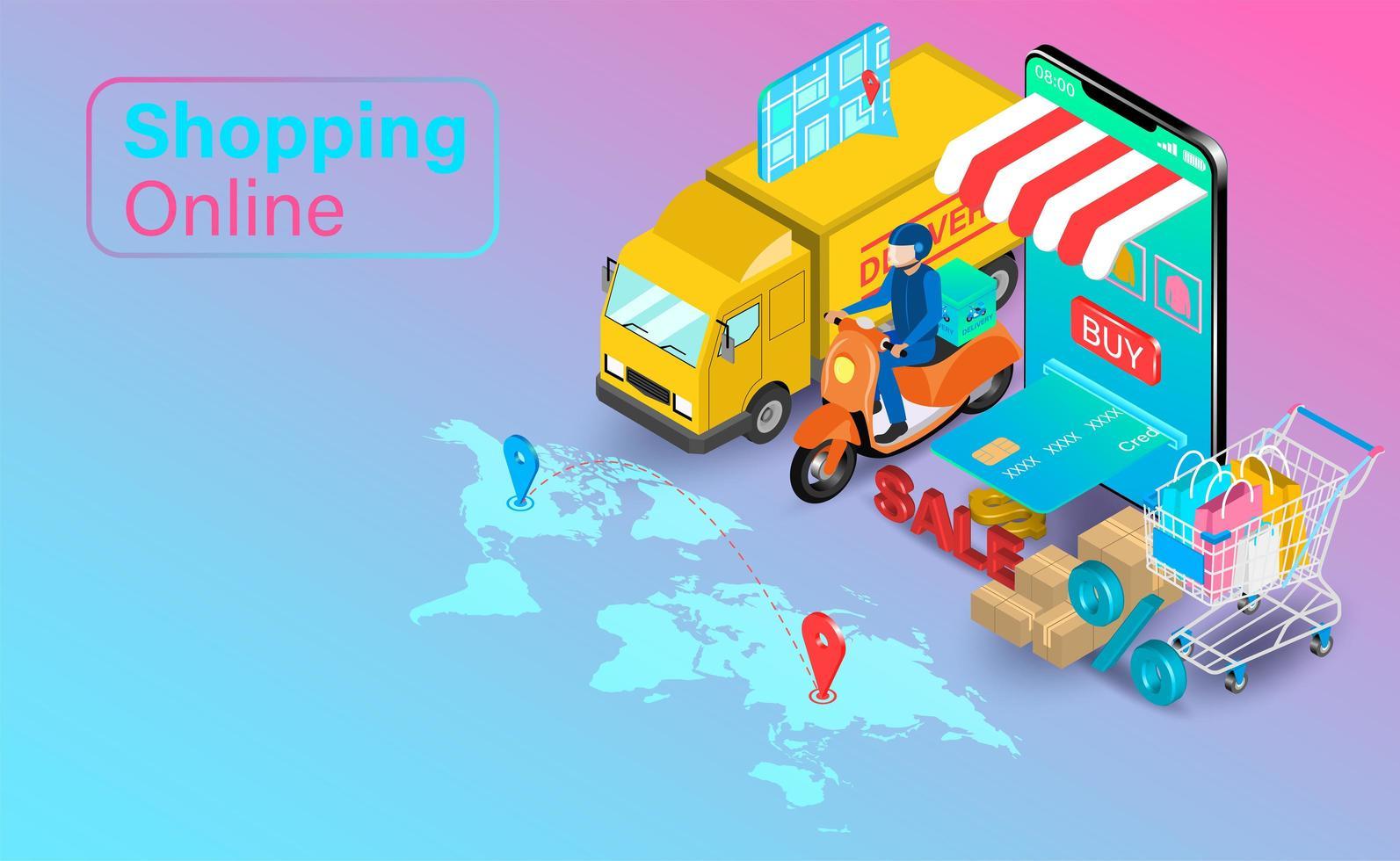 online shopping med lastbil och skoter vektor