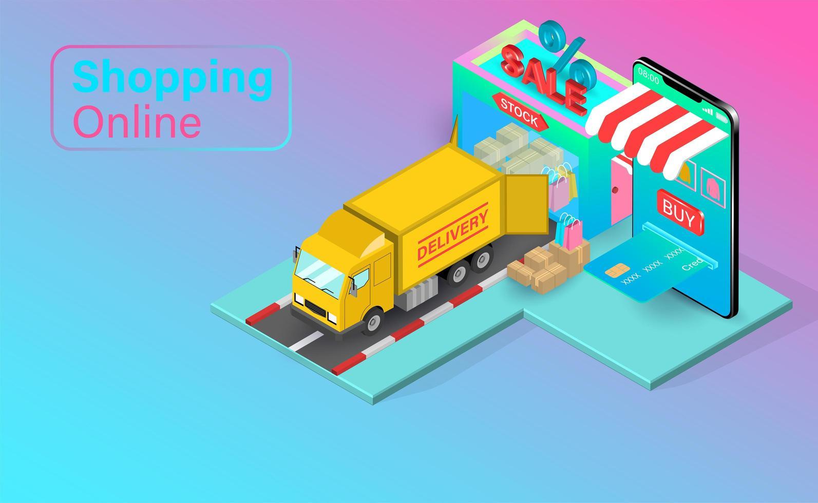 online shopping med lastbil leverans vektor